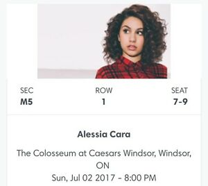 3 Alessia Cara tickets - Front row of back section!