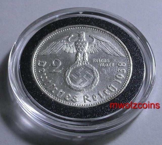 WWII German 1938   2 Reichsmark  Silver WAR Time Coin Third Reich  WW2