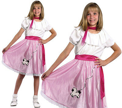 Childrens Kids Pink Ladies Fancy Dress Costume 1950S Grease Girl Outfit 3-10 Yrs - Grease Girl Outfits