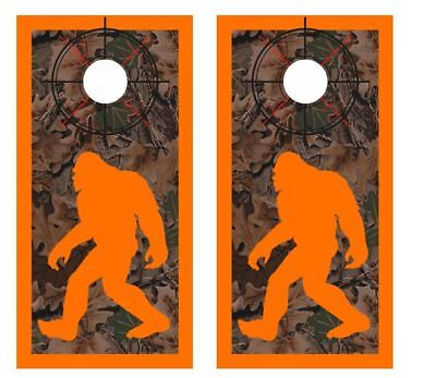 Realtree Camo - Bigfoot Hunter - Crosshair - Boarder Cornhole Board Wraps #2614