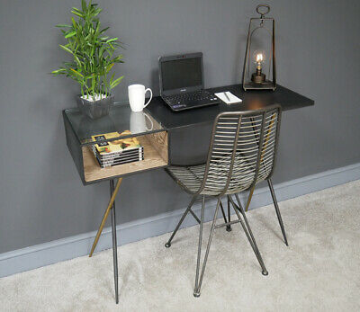 Industrial Office Desk Metal Console Table Glass Top Filing Storage Compartment