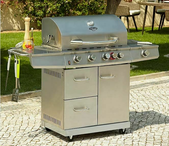 Large Barbecue Gas Grill Outdoor Garden Bbq 5 Burner Side Uniflame 14 Persons