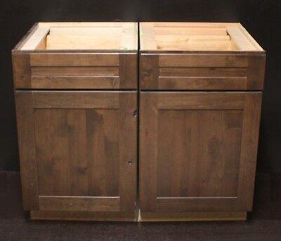 "Set Of 2 - Kraftmaid 2x21""=42"" Hazel Suede Alder Kitchen Base Cabinets"