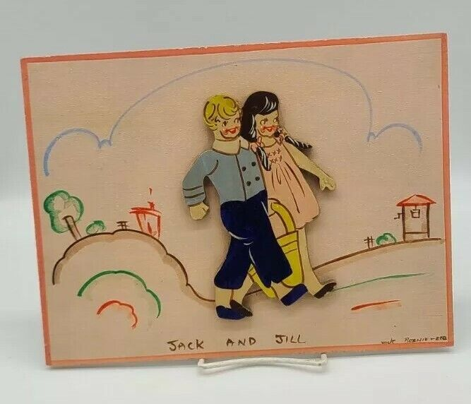 Vintage Wooden Hand Painted Wall Hanging Picture Jack & Jill