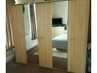 Beech wardrobe in excellent condition, 2 x 97cm wide and 1x 47cm wide, 200cm tall