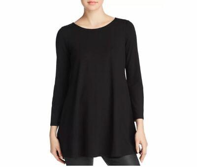 Eileen Fisher Long Sleeve Ballet-Neck Viscose Jersey Tunic Sz LRG ~ Black ~ NWT