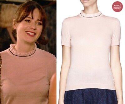 Tory Burch Rolanda Sweater Cashmere Silk Pink Nude Ruffle Neck Short Sleeve L