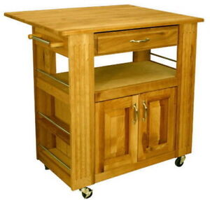 Butcher Block Rolling Kitchen Island : New Large Wood Kitchen Island Butcher Block Drop Leaf Top Rolling Cabinet Shelf eBay