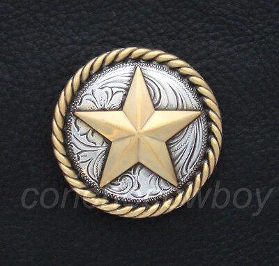 "WESTERN CRAFT ANTIQUE GOLD ROUND ROPE EDGE STAR SADDLE CONCHO 3/4"" screw back"