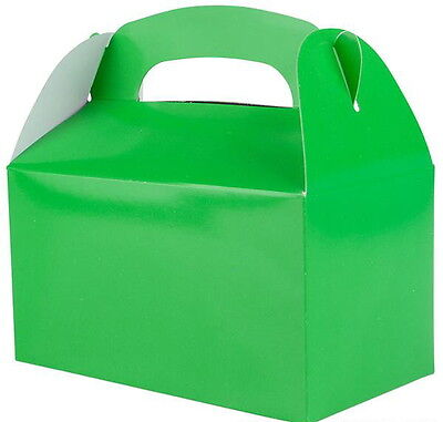 24 GREEN PARTY TREAT BOXES FAVORS GOODY BAGS BAZAAR PRIZE GIFT BASKET CARNIVAL - Green Party Box