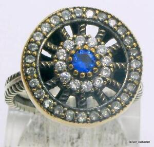 925 STERLING SILVER SAPPHIRE & WHITE TOPAZ SET RING SIZE 9