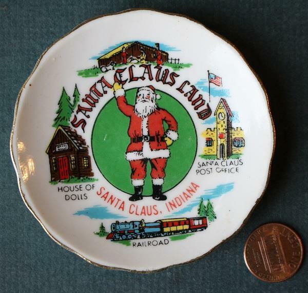 1960-70s Era Southern Indiana Santa Claus Land souvenir butter pat plate-SCARCE!