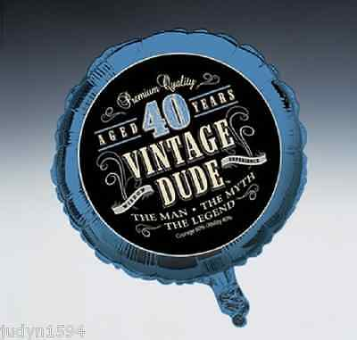 VINTAGE DUDE 40th BIRTHDAY PARTY FOIL BALLOON DECORATION PROP 45CM BLUE 40 YEARS - Vintage 40th Birthday Decorations