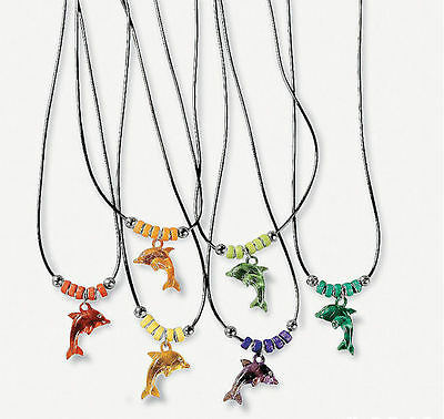 12 colorful DOLPHIN NECKLACES LUAU Birthday party favors](Dolphin Birthday Party)