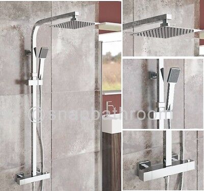 "8"" Twin Head Square Thermostatic Bar Shower Mixer Bathroom Chrome Valve Set 57"