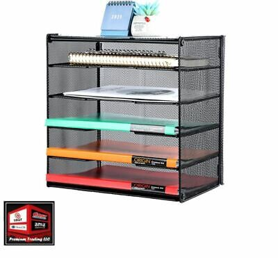 New Letter Tray Organizer Mesh Desk File Organizer Paper Sorter Holder 5-tier