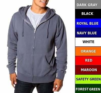Cotton Solid Pockets Zipper - Mens Heavy Cotton Zipper Zip Hood Hoodie Solid Plain Blank Pockets Sweatshirt