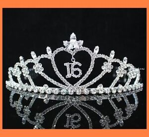 SWEET-SIXTEEN-16-RHIESTONE-TIARA-CROWN-WITH-COMBS-PARTY-FASHION-JEWELRY-T538