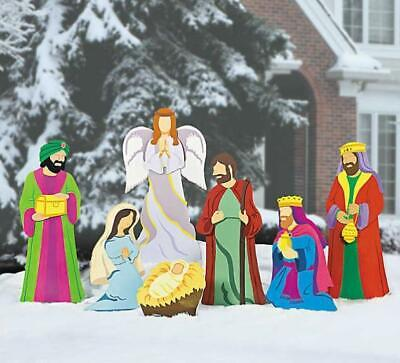 Outdoor Christmas Deluxe Nativity Scene Large Metal Yard Stakes Decoration 7-PC ()
