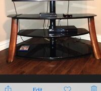 Glass and wood flat screen TV stand for up to 60""