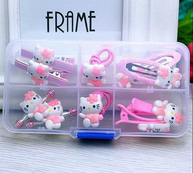 10pcs//set Girl/'s Cute Hello Kitty Flower Hair Ring Rope Hairpin Jewelry Set Rose