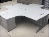 Grey Corner Office Desk (Right Side)