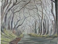 The Dark Hedges oil painting