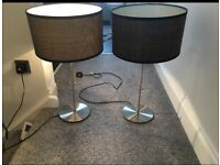 Two brown pull cord lamps