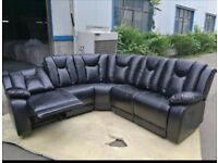 Pure leather corner recliner sofa
