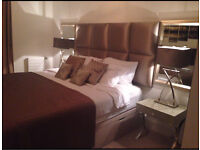 Full bedroom set , super king bed ,mattress, side tables , mirrors , lamps, throw , cushions