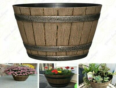 Whiskey Barrel Planter Distressed Oak 9
