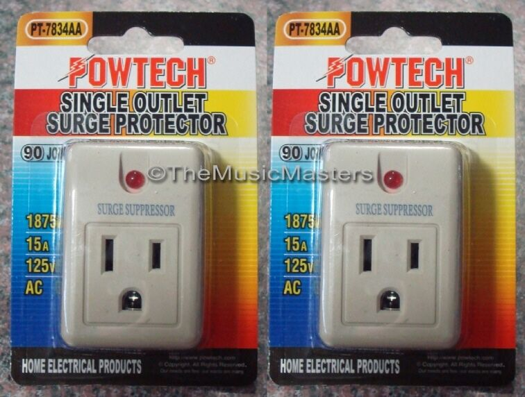 2X Single Outlet AC Wall Plug Surge Protector Power Suppressor 90 Joules 1875W