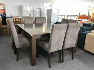 TODAY DELIVERY 9 pcs QUALITY BIG BROWN WOODEN dining table