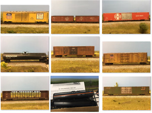 HO Scale Freight Cars (Lot) weathered Model Trains