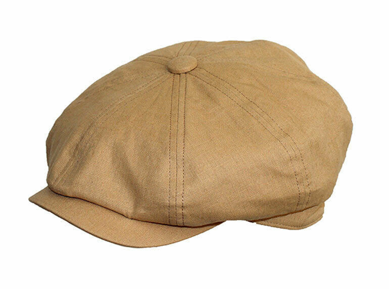 Flat Cap Newsboy BakerBoy 8 Panel Karki Pale Brown Linen Summer