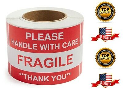 Fragile Please Handle With Care Thank You - 1 Roll 500 Labels 2 X 3 New