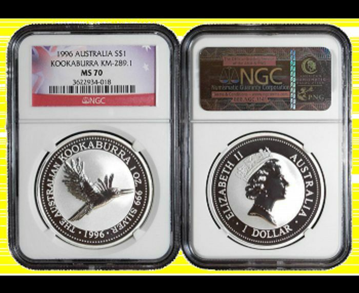 1996  Australia 1 oz silver  Kookaburra PERFECT NGC MS 70 NEW NO SPOTS