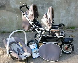 Jane Power Twin Double Pushchair and Car Seat