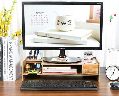 Diy Office Wood Desk Organizer Pen Holder Desktop Storage Computer Monitor Stand