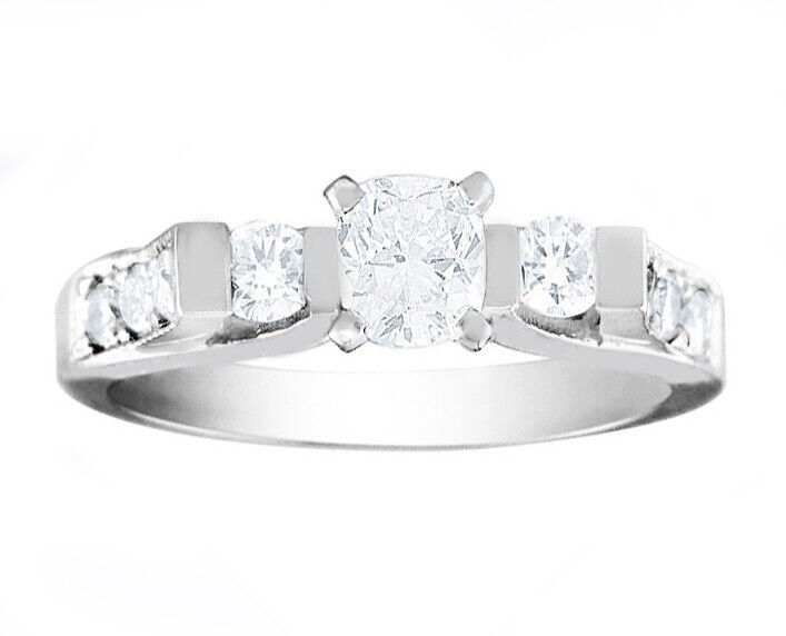 GIA Certified Diamond Engagement Ring 14k White Gold 1.86 CTW Natural Cushion