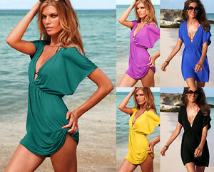 LADIES-BEACH-KAFTAN-FASHION-DRESS-COVER-UP-BIKINI-BLACK-WHITE-RED-BLUE