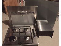 Stainless steel 4 ring gas hob, cooker hood with modern light grey glass splash back
