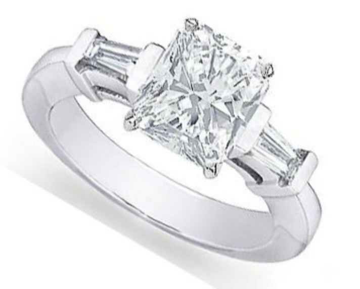Radiant Brilliant Diamond Engagement Ring with Tapered Baguettes - GIA CERTIFIED