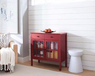 Red Glass Doors Storage Cabinet Home Living Room Accent Furniture Den Drawer
