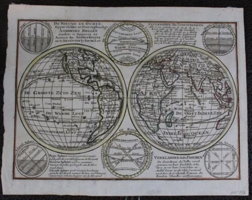 1747 Map of Two Hemispheres, Celestial Diagrams with California as Island