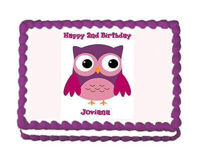 Owl Premium Frosting Sheet Cake Topper FREE Personalization](Owl Cake Topper)