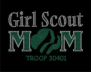girl scout mom rhinestone bling t shirt with custom troop
