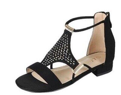 Kids Heel Shoes (New kids strappy gladiator block  heel zipper sandals open toe)