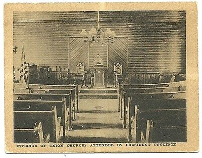 Interior of Union Church Attended President Calvin Coolidge  Political