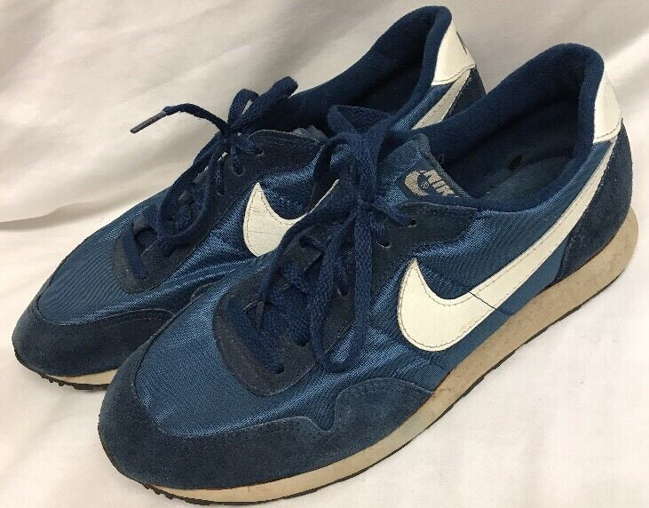 Vintage 1980s NIKE Tennis Shoes - Size 10 Blue Made in Korea